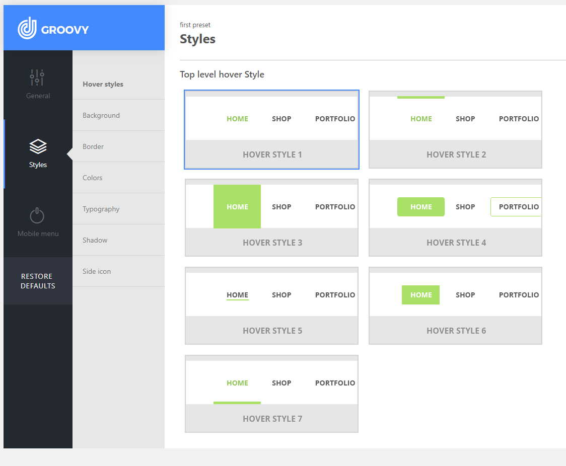 Hover styles in Groovy Menu Plugin for WordPress