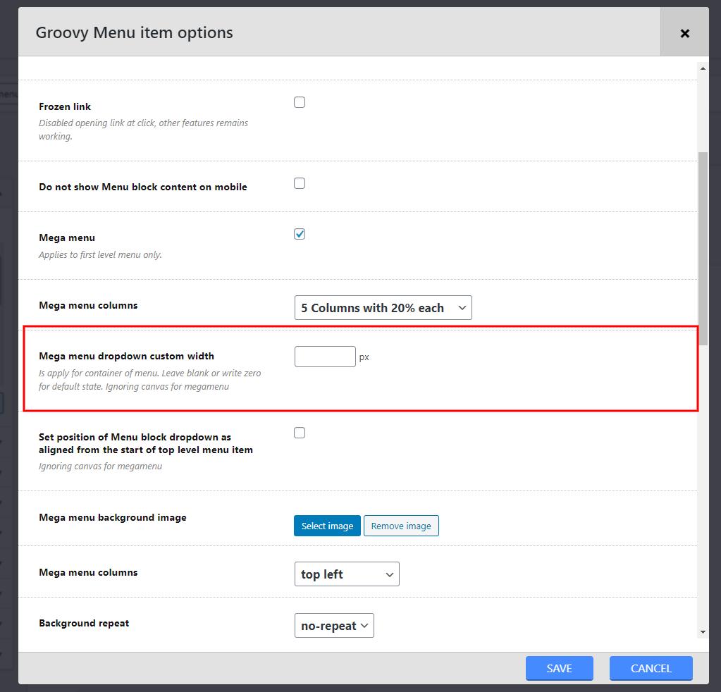 Setting Mega menu custom width placed in Appearance > Menus