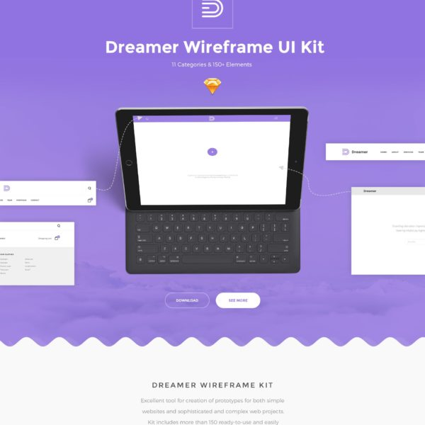 Wireframe UI Kit for Sketch Dreamer