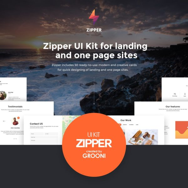 Zipper UI kit for Landing page