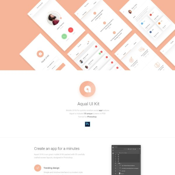 Aqual Mobile Free UI Kit for Social Media and Network Apps
