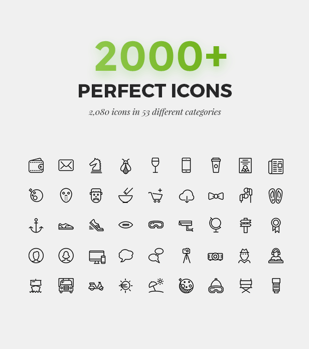 2000 Amazing Icons for 53 Catégories
