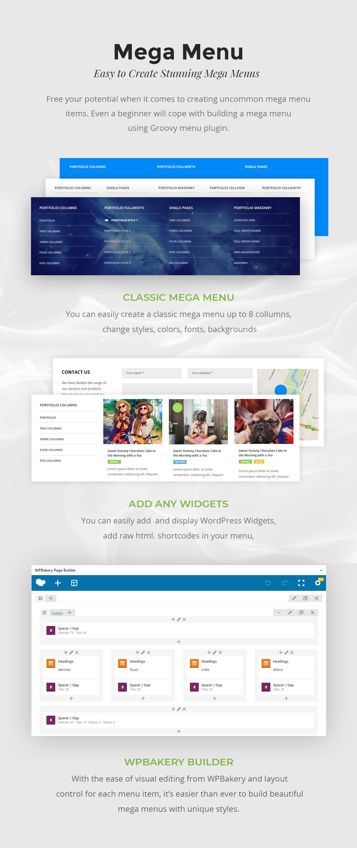 Mega Menu WordPress Plugin, WPBakery, Elementor, Beaver Builder, SiteOrigin, Visual Composer widgets