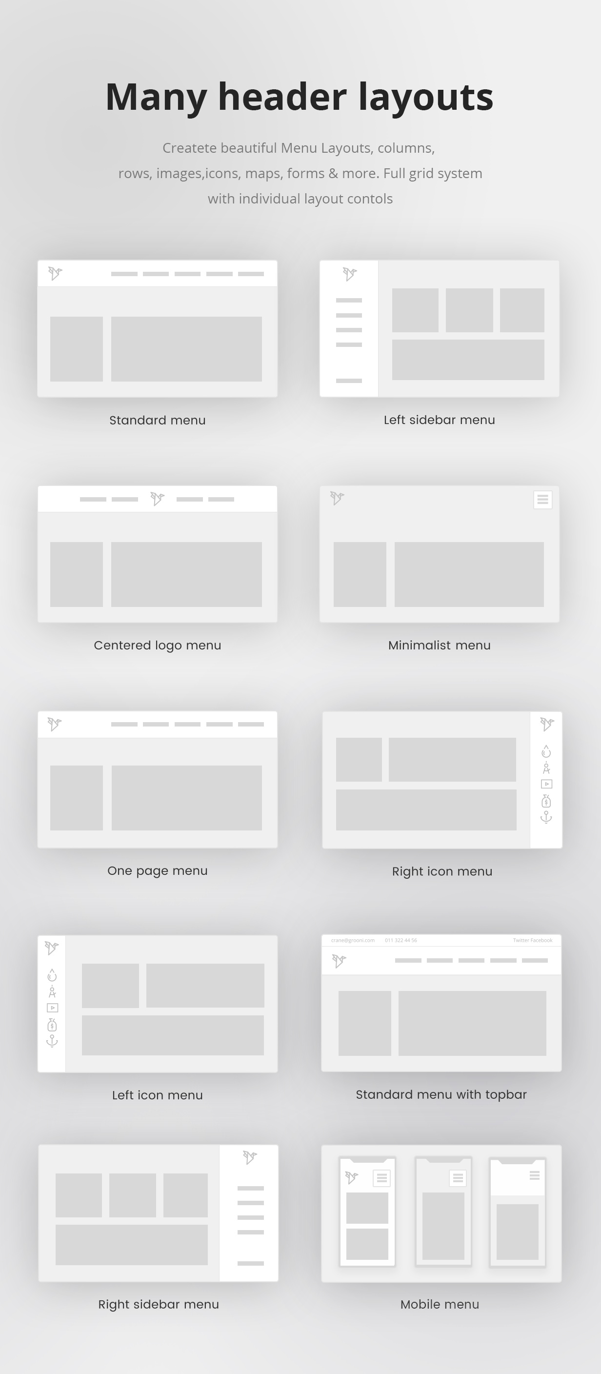 Responsive WordPress Menu Headers, Navigation and Menu for Business site