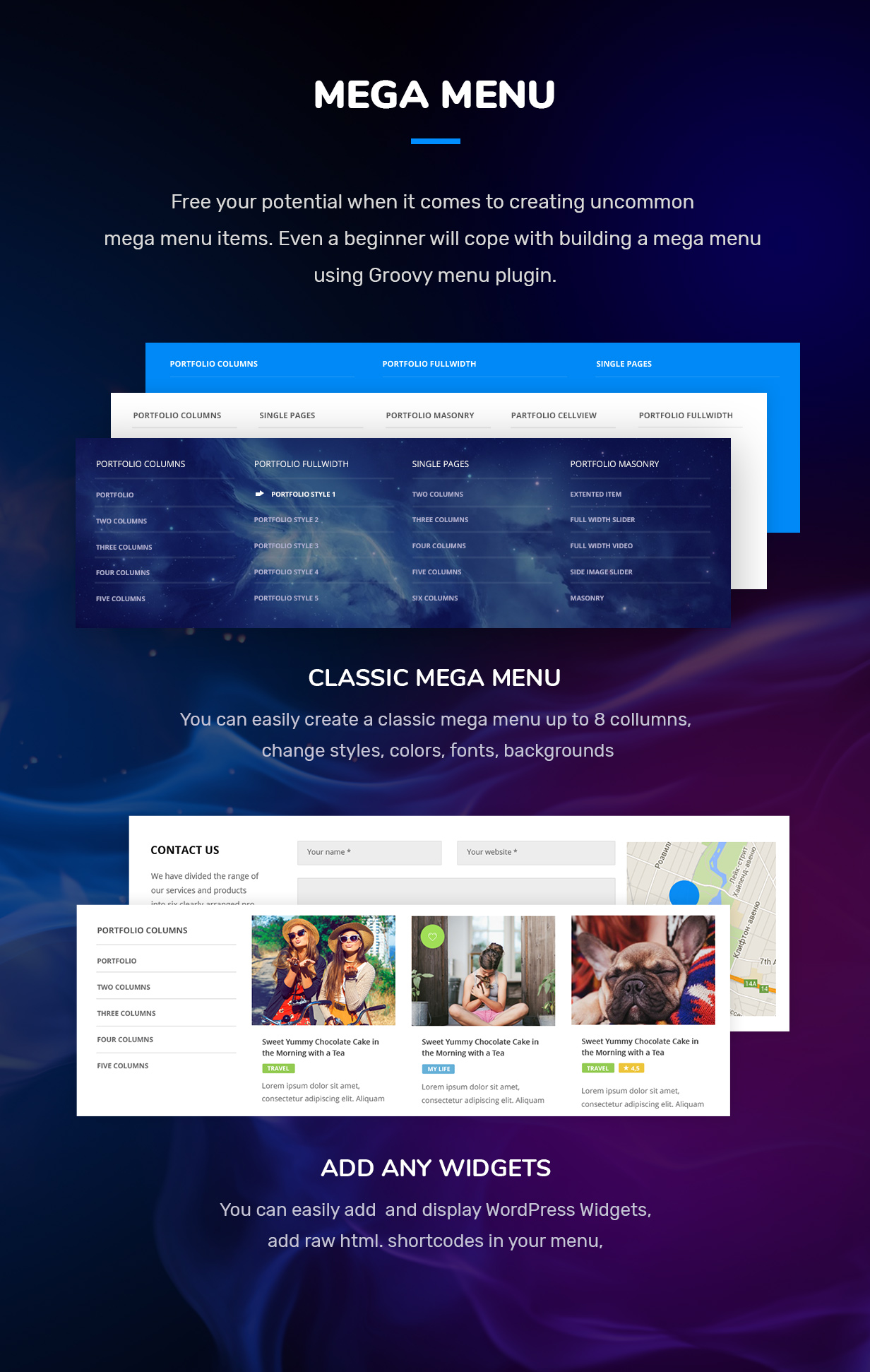 wordpress mega menu plugin widgets, sticky, wpbakkery