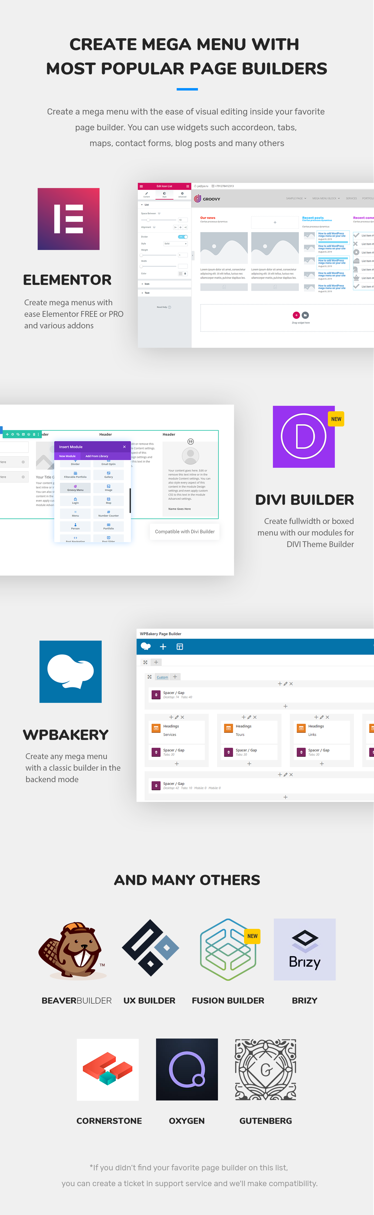 Groovy mega menu compatible page builders is a DIVI theme,  Elementor Free and PRO, WPBakery, Brizy, Oxygen, Theme Fusion, Gutenberg, Beaver Builder, UX Builder by Flatsome, Cornerstone