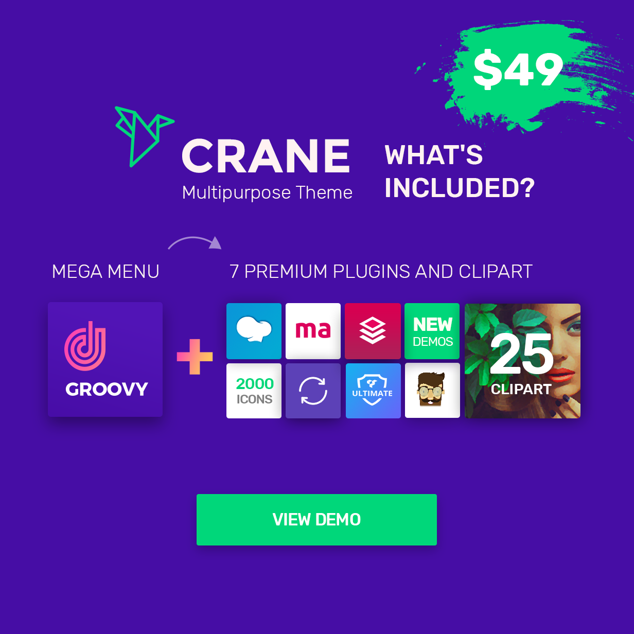 Get Crane Busininess WordPress theme with mega menu